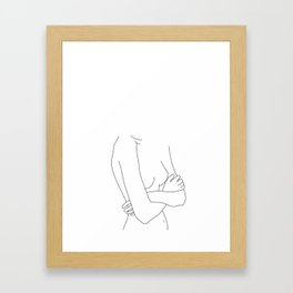 Woman's nude body line drawing - Becky Framed Art Print
