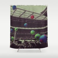 coldplay Shower Curtains featuring Coldplay at Wembley by Efua Boakye