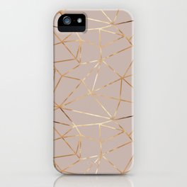 Geometrical mauve pink faux gold abstract geometry iPhone Case