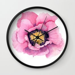Large Watercolor Poppy Wall Clock