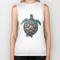 sea turtle Biker Tanks featuring Turtle by Elise Cayouette