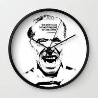 bukowski Wall Clocks featuring Charles Bukowski Quote Laziness by Fligo