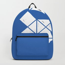 Hand Made White Squares, Triangles with Ink on Paper on Warm Blue Backpack