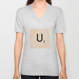 Scrabble Letter U - Large Scrabble Tiles Unisex V-Neck