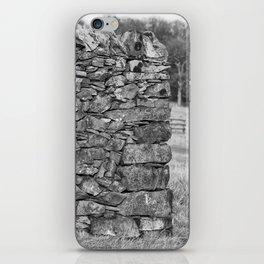 Dry stone wall in mono iPhone Skin