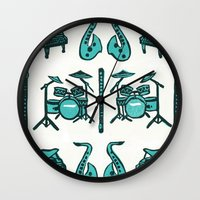 mortal instruments Wall Clocks featuring Jazz instruments by what the ostrich