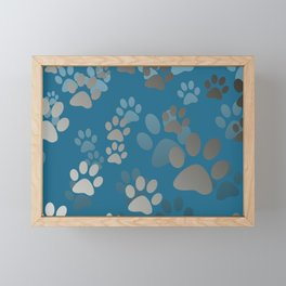 Footprint Animal turquoise Framed Mini Art Print