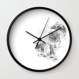 Wolf on the prowl Wall Clock