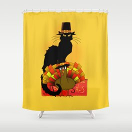 Thanksgiving Le Chat Noir With Turkey Pilgrim Shower Curtain