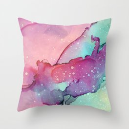 Abstract watercolor spill Throw Pillow