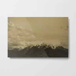 Utah Mountain in Sepia Metal Print