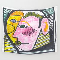 "dorothy Wall Tapestries featuring ""Atrocious Face"" - a scan of artwork By Dorothy Messenger, copyrighted by  Dorothy Messenger"