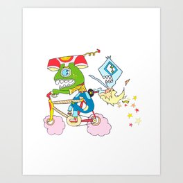 """Bubblegum Bicycle"" My Monster Friends Art Print"