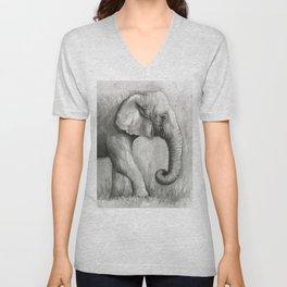Elephant Black and White Watercolor Unisex V-Neck