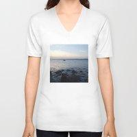 edinburgh V-neck T-shirts featuring Kayaker Leith Edinburgh by RMK Creative