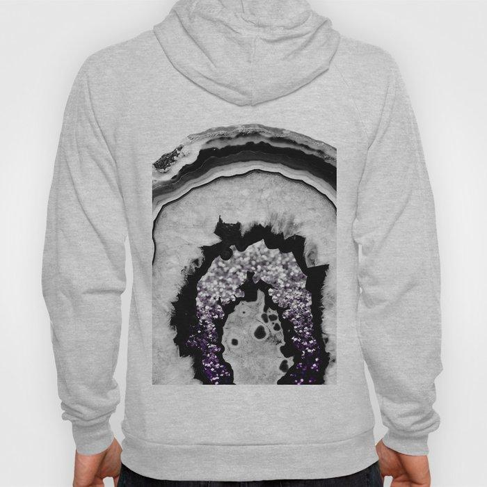 Gray Black White Agate with Purple Black Silver Glitter #1 #gem #decor #art #society6 Hoody