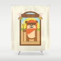 ewok Shower Curtains featuring Esok Ewok by Gary  Ralphs Illustrations