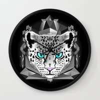 snow leopard Wall Clocks featuring Snow Leopard by chobopop