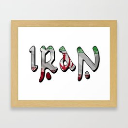 Iran Font with Iranian Flag Framed Art Print