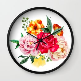 Watercolor Spring Flowers Wall Clock