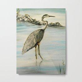 Great Blue Heron in Oil Metal Print