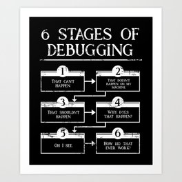 6 Stages Of Debugging Programming Coding Art Print