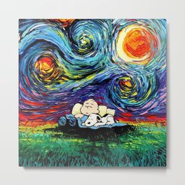 sleeping stary night snoopy Metal Print