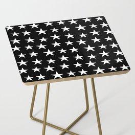 Star Pattern White On Black Side Table