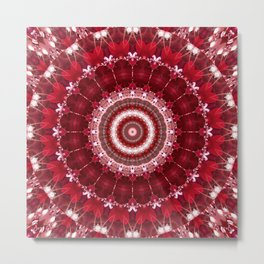 Mandala red Hearts Metal Print