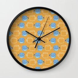 mustard blue amalfi mugs Wall Clock