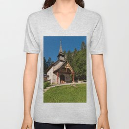 Small church surrounded by nature under the Seekofel Unisex V-Neck