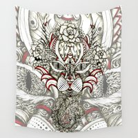 cheshire cat Wall Tapestries featuring ornate cheshire cat by hueroth