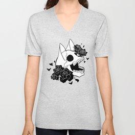 Skull 'n' Roses (ScribbleNetty-Black&White) Unisex V-Neck
