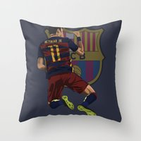 neymar Throw Pillows featuring Neymar  by siddick49