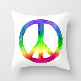 Rainbow Watercolor Peace Sign Throw Pillow