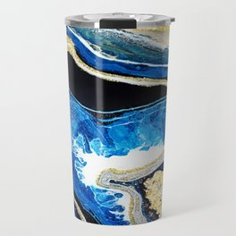 Gold Blue Black White Geode Travel Mug