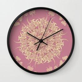 Oriental Tattoo Mandala gold on rose pink Wall Clock