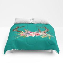 Deer Antlers with flowers Comforters