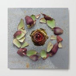 Purple Artichoke Wreath Metal Print