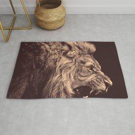 lion pencil art lion roar black and white Rug