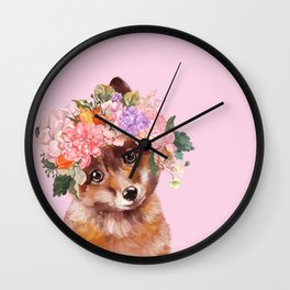 Baby fox with Flower Crown Wall Clock