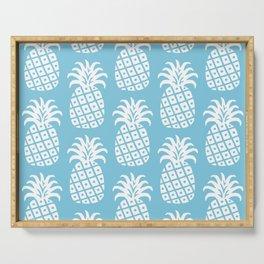 Retro Mid Century Modern Pineapple Pattern 731 Sky Blue Serving Tray