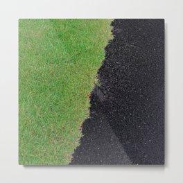 Hawaii Big Island Black Sand Beach & Green Grass Metal Print