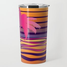 Retro striped sun and palm Travel Mug