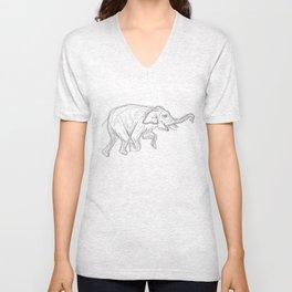 Elephant Swimming Gestural Drawing Unisex V-Neck