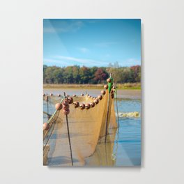 Large fishing net planted in middle of pond of Dombes Metal Print
