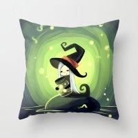 fireflies Throw Pillows featuring Fireflies by Freeminds