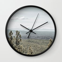 True Grain // Gritty Desaturated Detail of the Oregon Coast Mountains and Woods Wall Clock