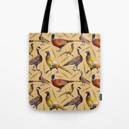 Vintage brown orange colorful pheasant birds pattern Tote Bag
