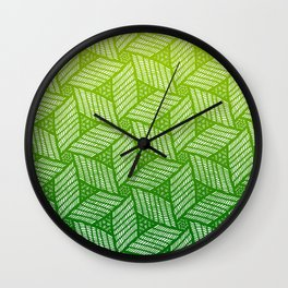 Japanese style wood carving pattern in green Wall Clock